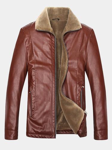 Slim Fit Men PU Croc Jacket with Faux Fur Liner