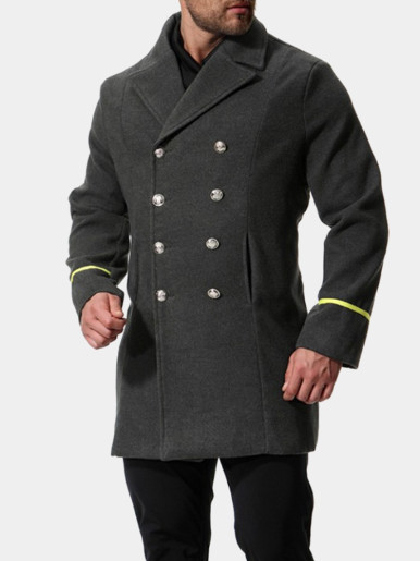 Men Double Breasted Military Coat