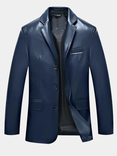 M-3XL HOT New Male clothing New Business casual Leather jacket Slim Fashion suit collar Spring and autumn Plus size Leather coat