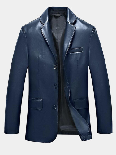 Slim Men PU Blazer Jacket