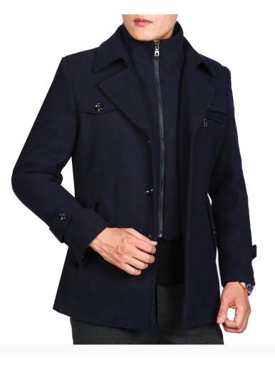 Regular Fit Warm Double Collar Men Wool Coat