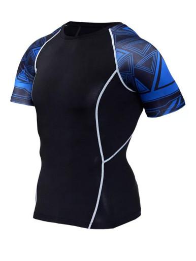 Print Panels Stretch Slim T-Shirt + Shorts Men Training Set