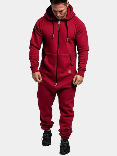 Men One-piece Jumpsuit with Hoody