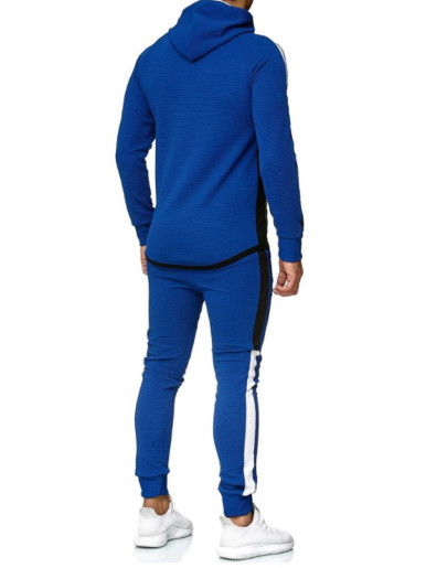 Contrast Panels Men Tracksuit Set with Taping