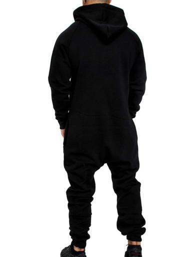 Men Fleece Jumpsuit Tracksuit with Hoody