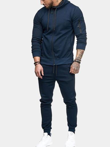 Solid Tracksuit Suit For Men