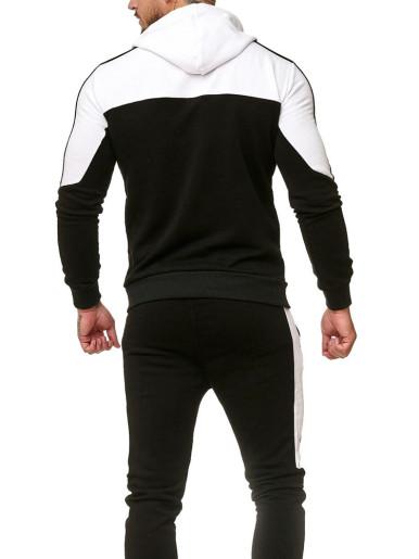 Pullover Hoodie + Jogger Panels Men Tracksuit Suit