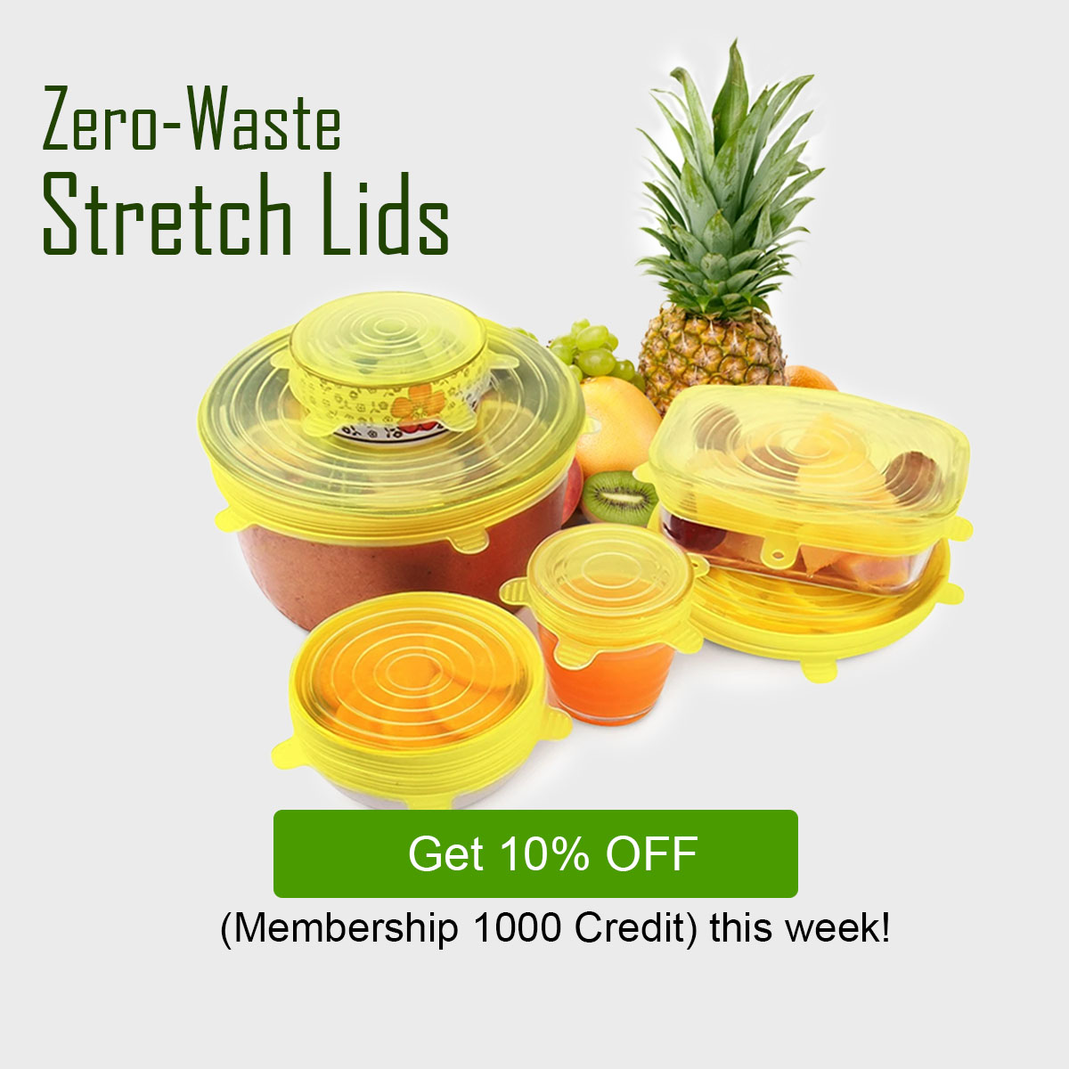 Stretch Zero-Waste Reusable Food and Container Lids (6 Piece Set)