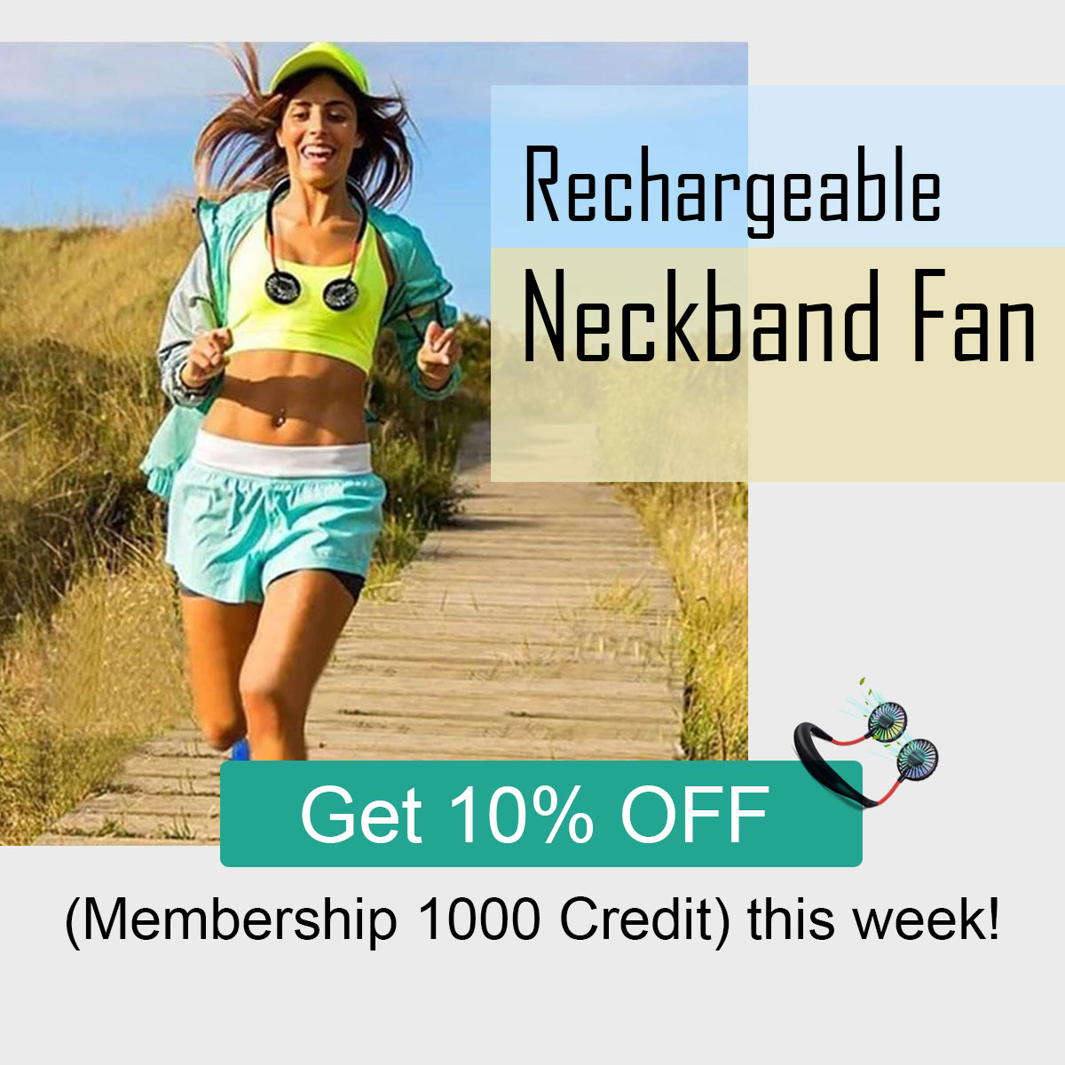 Hands-Free Hanging USB Rechargeable Neckband Fan