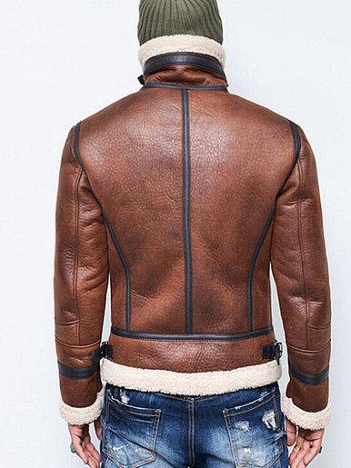 Borg Lined Mens Biker Jacket
