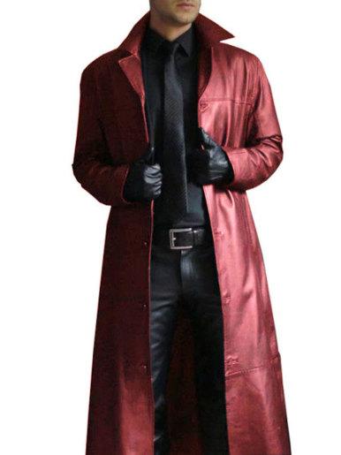 Slim Fit Faux Leather Longline Trench Coat Men