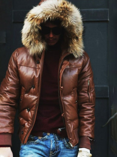 Men's PU Winter Jacket with Faux Fur Hood