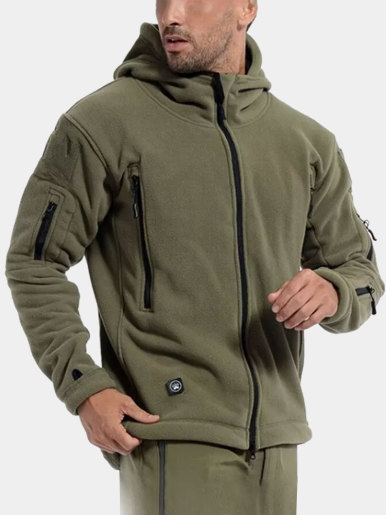 Mens Utility Fleece Hooded Jacket