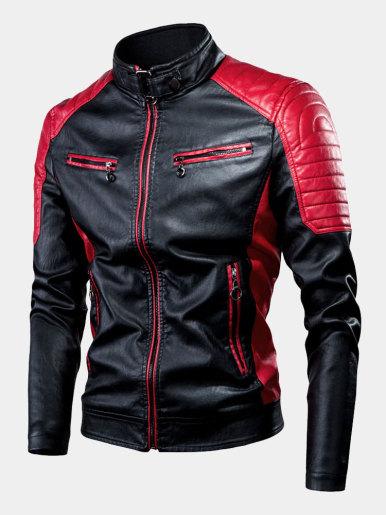 Spliced PU Biker Jacket For Men