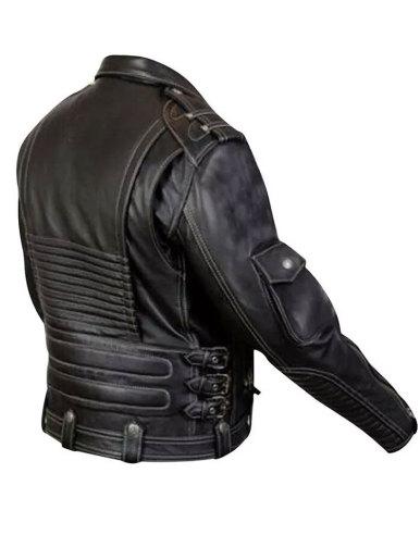 Mens PU Biker Jacket with Contrast Stitch