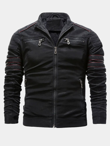 Mens Slim Fit PU Jacket with Quilted