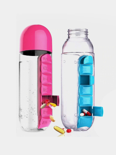 600 ML 2 in 1 Water Bottle with Built-In 7 Day Pill Organiser