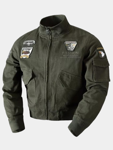 Men Fleece Liner Military Jacket with Embroidery Patches