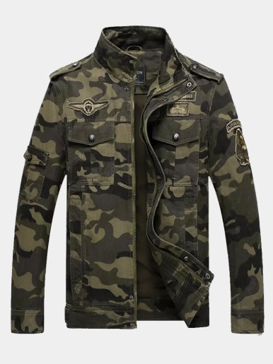 Men Camo Military Jacket with Patches