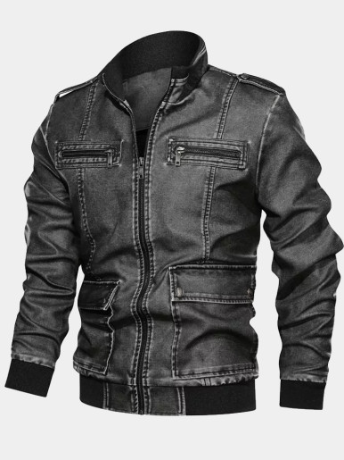 Men's PU Leather Jackets with Fleece Liner