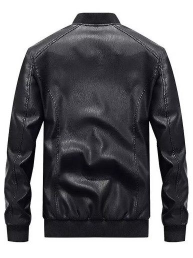 Embroidery Detail  Men's PU Bomber Jacket