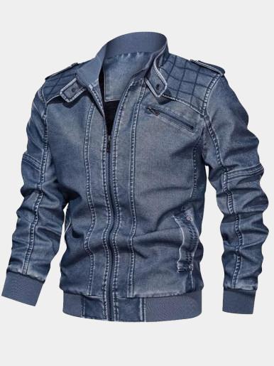 Fleece Liner Mens PU Biker Jacket with Quilted