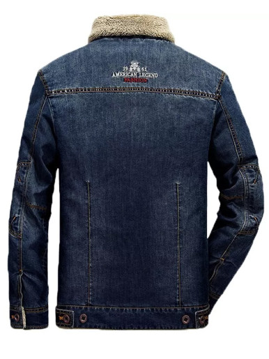 Men's Borg Lined Denim Jacket with Embroidery Back