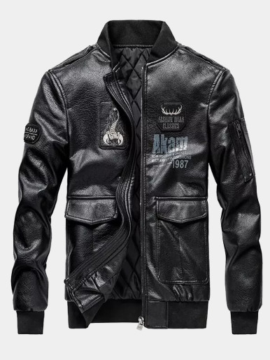 Warm Men PU Jacket with Embroidery Detail