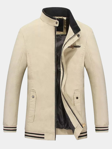 Stand Collar Mens Jacket with Stripe Tipped