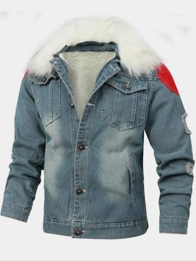 Men's Denim Jacket with Contrast Shoulder Panels and Detachable Faux Fur Collar