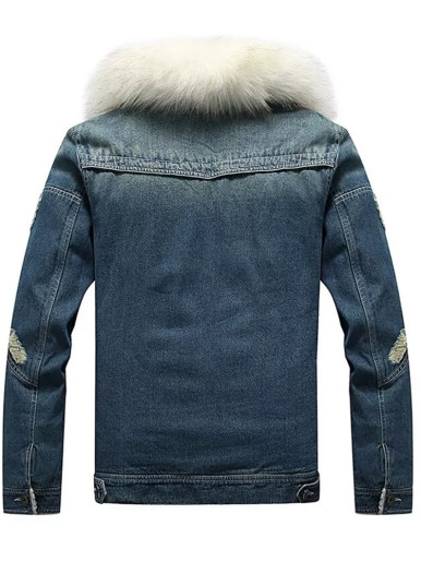 Mens Zipper Denim Jacket with Borg Lining and Detachable Faux Fur Collar