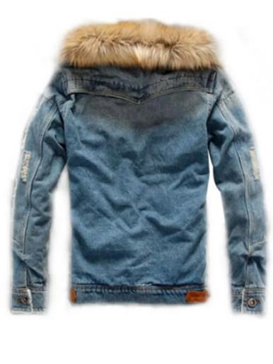 Fleece Liner Men's Distressed Denim Jacket with Faux Fur Collar
