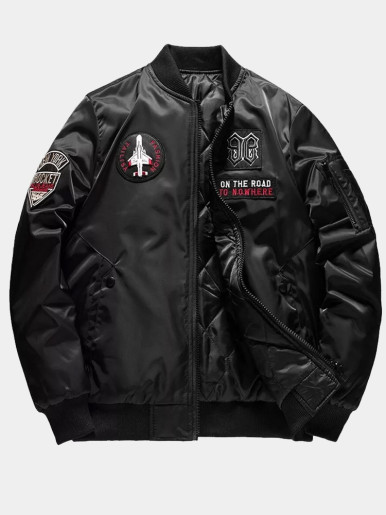 Men's Padded Bomber Jacket with Patches