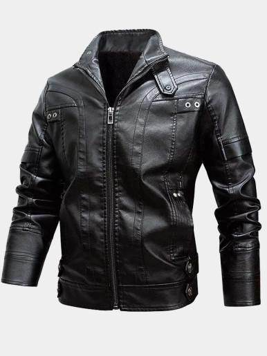 Mens PU Jacket with Fleece Liner