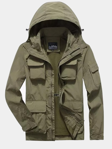 Males Hooded Jacket with Patch Pockets