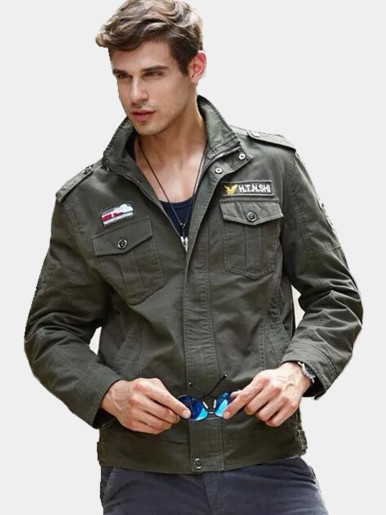 Men's Utility Bomber Jacket with Patches