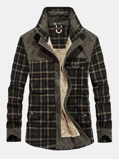 Men's Check Jacket with Faux Fur Lining