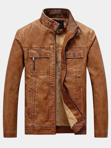Men's PU Biker Jacket with Faux Fur Lining