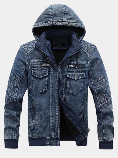 Fleece Lined Hooded Denim Jacket For Men
