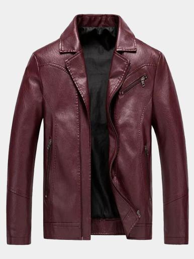 Washed PU Zipper Front Men Jackets