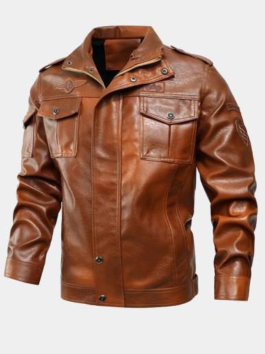 PU Bomber Jacket For Men
