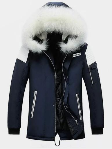 Mens Hooded Padded Jacket with Contrast Shoulder Panels