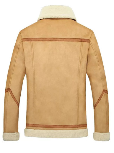 Faux Suede Men's Warm Jacket with Borg Trims and Taping