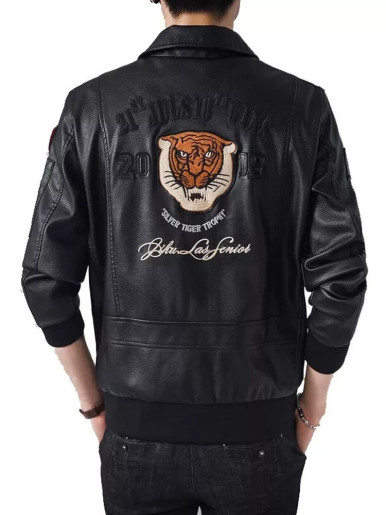 Tiger Embroidery Men's PU Jacket