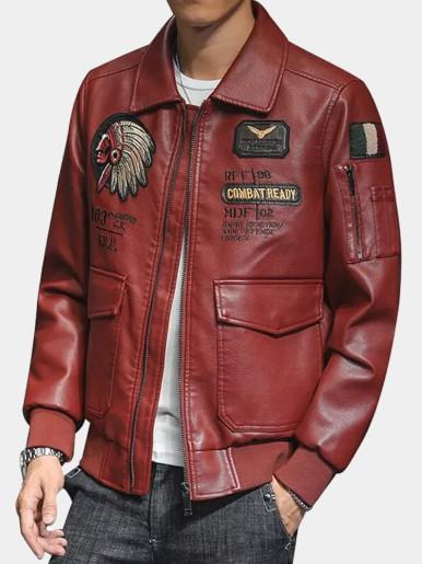 Embroidery Zipper PU Jacket Men