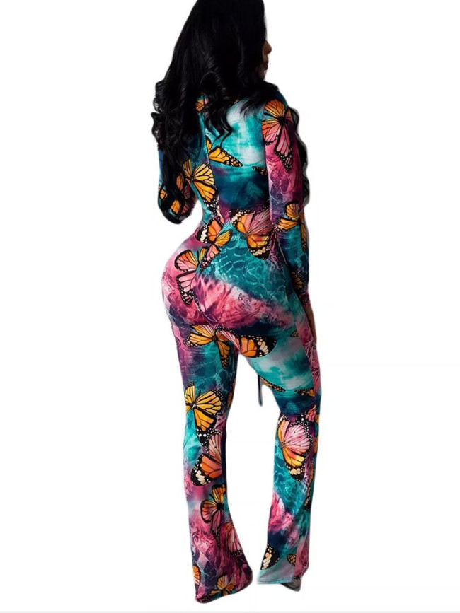 Butterfly Straight Jumpsuit  One Piece