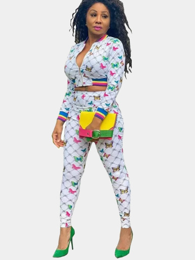 Diamond and Butterfly Print Women Tracksuit