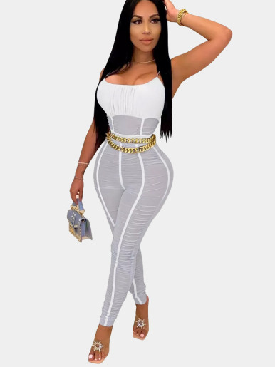 Cami Straps Ruched Mesh Women Jumpsuit with Taping
