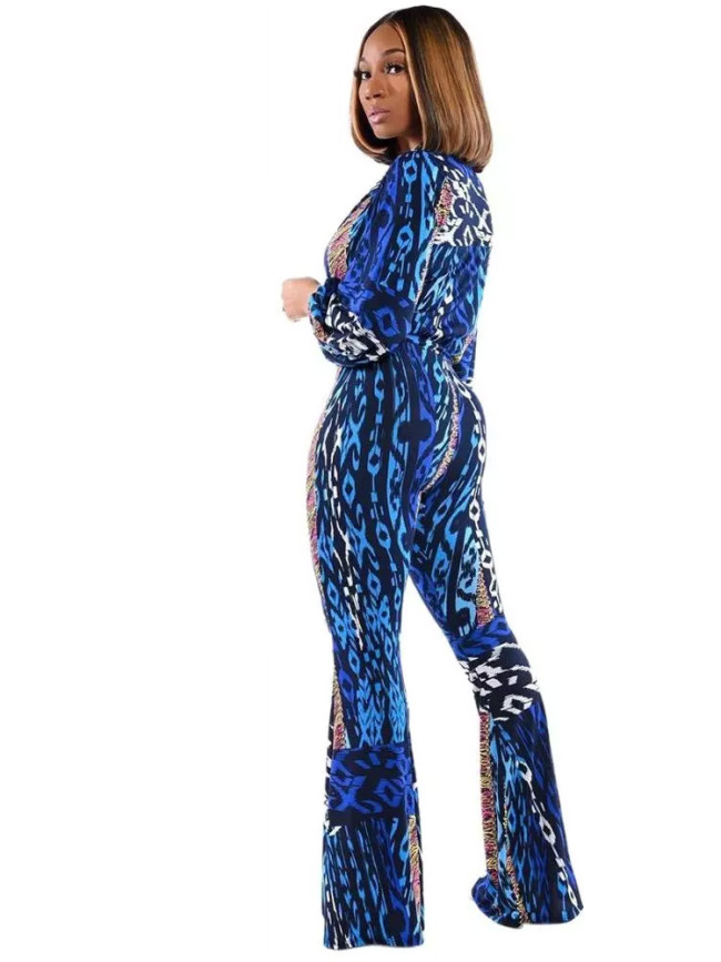 Mixed Print Flare Leg Women Jumpsuit