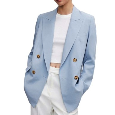 Simple Solid Color Double-Breasted Fashion Suit